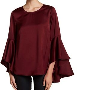 To & De Burgundy Satin Bell Sleeve Zipper Blouse M